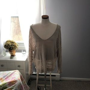 Deep V Neck Cotton Sweater